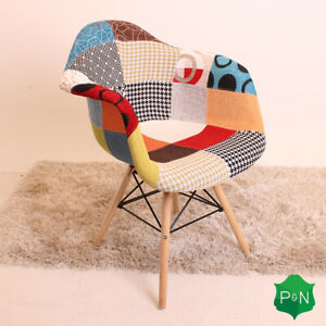 Patchwork-Eiffel-Armchair-Dining-Chair-Retro-Vintage-Scandinavian-Style
