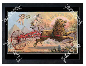 Historic-1879-lion-brand-agricultural-rake-Advertising-Postcard