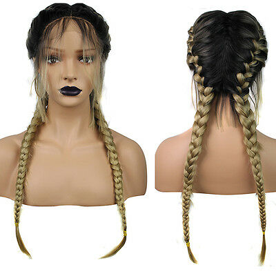 Long Double Braids Black Synthetic Braided Lace Front Wig Baby Hair Wigs Fiber
