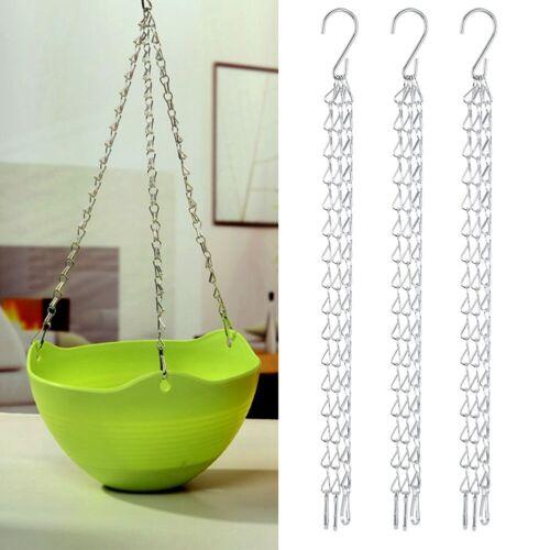 3Pcs//Set Garden Planter Flower Pot Basket Replacement Hanging Chain With S Hooks