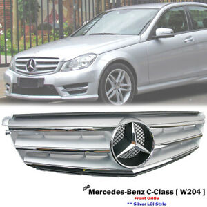 Front Silver LCI Grille For Mercedes Benz W204 C-Class C280 C300 C350 2007-2014