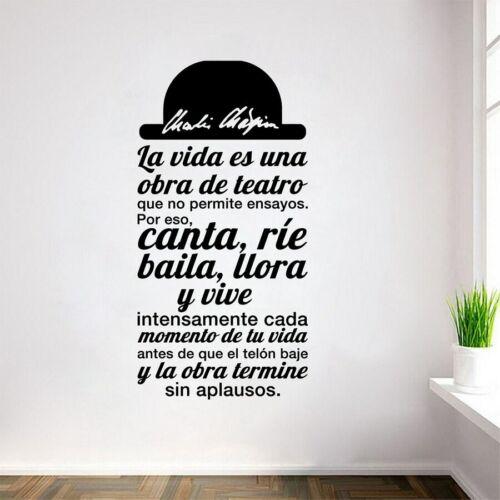 Spanish Quote La vida es una obra de teatro Vinyl Wall Stickers Decals Art Decor