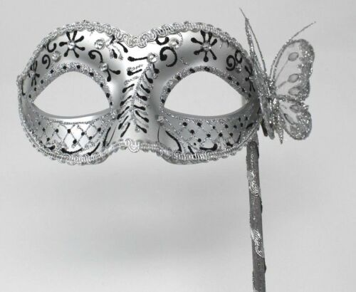 Black /& Silver Venetian Masquerade Party Prom Carnival Eye Mask Hand Held Stick