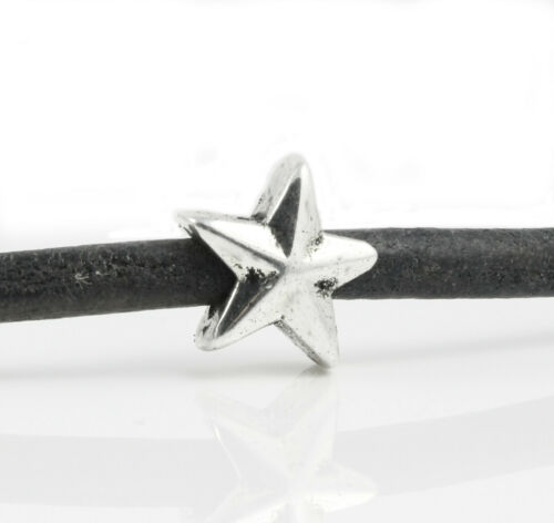 "6x metal perla /""estrella/"" Ø 5 mm Antik pulsera plata fabrican Star"