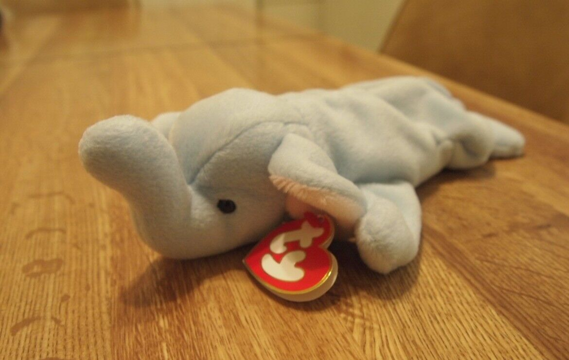 Gently used Peanut Beanie Baby (light bluee) rare