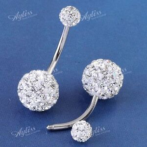 1PC-14G-Clear-Czech-Crystal-Belly-Navel-Ring-Stud-Bars-Stainless-Steel-Piercing