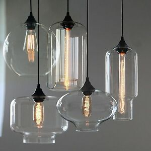New modern retro glass pendant lamps kitchen bar cafe hanging image is loading new modern retro glass pendant lamps kitchen bar aloadofball Image collections