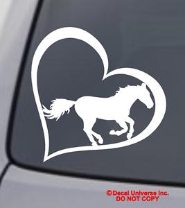 HORSE HEART Vinyl Decal Sticker Car Window Bumper Wall Macbook Love Symbol Pony