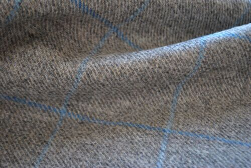 gray fabric Tweed material by the metre in grey with light blue windowpane