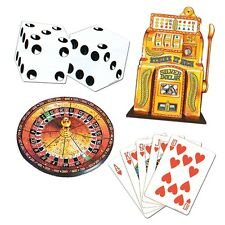 4 X Casino Las Vegas Fiesta Decoración recortes-tarjeta, Ruleta Poker & Bandit