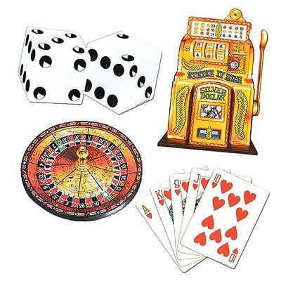 4 x Las Vegas Casino Party Decoration Cutouts  - Card, Roulette Poker & Bandit