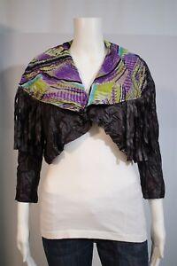 NEW-Lulumari-Misses-LARGE-Purple-Lace-Up-Fringe-Wide-Collar-Open-Shrug-Jacket