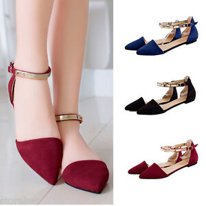 Womens-Sandles-Ankle-Strap-Flat-Heel-Sandles-Pointed-Toe-Casual-Shoes-US-7-8-5