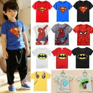 Bebe-Enfants-Garcons-T-shirt-Hauts-Spiderman-Batman-COS-tenues-vetements-enfant