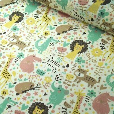 Polycotton Fabric Giraffe Hippo Lion Cartoon Nursery Kids