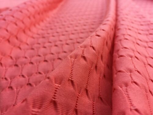 dress fabric Elastane /& Polyester Embossed Jersey /'Helm' per metre Coral