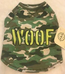 Woof Camo Dog Shirt Xs Embroidered Raglan Little