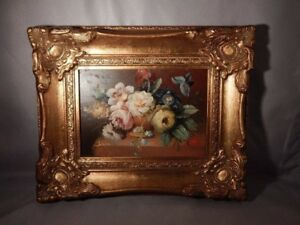 dfa039429f4d Stiff Life Oil on Board Floral Beautiful Gilt Victorian Type Carved ...