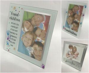GRAND CHILDREN KIDS PICTURE PHOTO FRAMES GLASS MIRROR GIFT BOXED PRESENT FAMILY