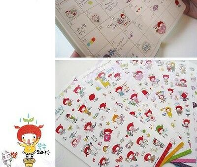 Korean Stationery Pippi Princess Little Girl Diary Deco Sticker 6 Sheets