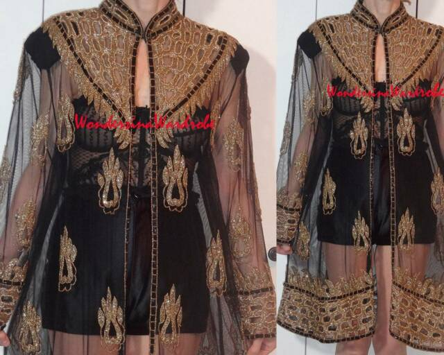 TAN CHHO  KRISHMA OVERSEAS COAT SHEER TULLE GOLD BEADS FLAME CUTOUT ILLUSION M L