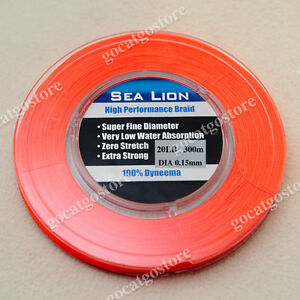 NEW-Sea-Lion-100-Dyneema-Spectra-Braid-Fishing-Line-300M-20lb-Orange