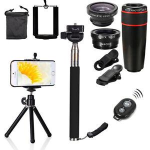 8X Mobile Phone Camera Telescope Fish Eye Macro Lens Selfie Stick Monopod Tripod