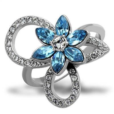 Brilliant 0.28ct Marquise Cut Top Grade Crystal Flower Shape Ring 5 - 10 TK2123