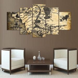 Middle Earth Map Lotr Framed Canvas