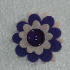 Felt Flower Sew on applique Embelishment  or scrapbooking purple & pink