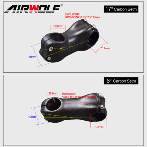 Full Carbon Fiber Bicycle Stem Road//MTB Bike Parts Accessories Angle 6//17 Degree