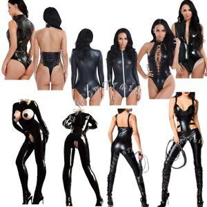 Sexy-Women-039-s-Lingerie-Leather-Fancy-Costume-Bodysuit-Catsuit-Jumpsuit-Club-Wear