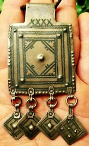 10cm Pendentif Argent Niellé Ancien Maroc Collier Berbère Antique Silver Pendant
