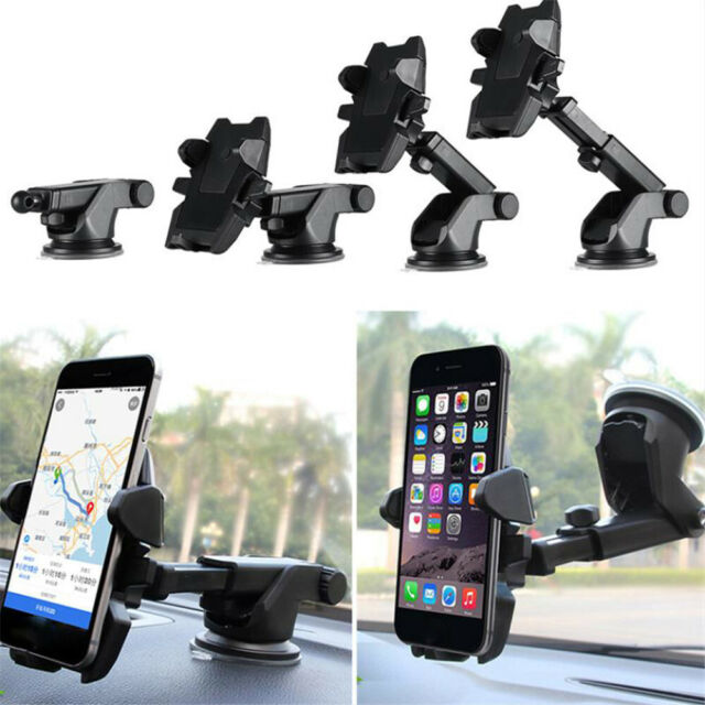 Black Long Neck Car Mount Mobile Phone Holder With Silicon Sucker 360 Degree