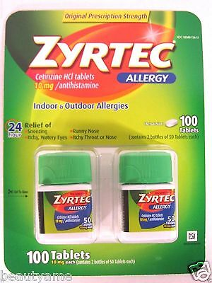 Zyrtec Allergy 24 Hour Cetirizine HCl 10mg, 100 Tablets ** Antihistamine **