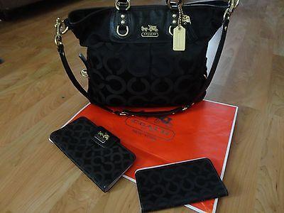 COACH Madison Julianne Black Op Art Convertible/Satchel Bag/Matching Wallet/Case
