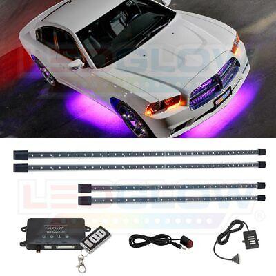 LEDGlow 4pc Blue LED Underbody Glow Neon Car Lights w 4pc Wheel Well Kit Package