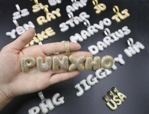 Iced Custom Name Phrase or Word CZ Brass Pendant with 24 Rope Chain