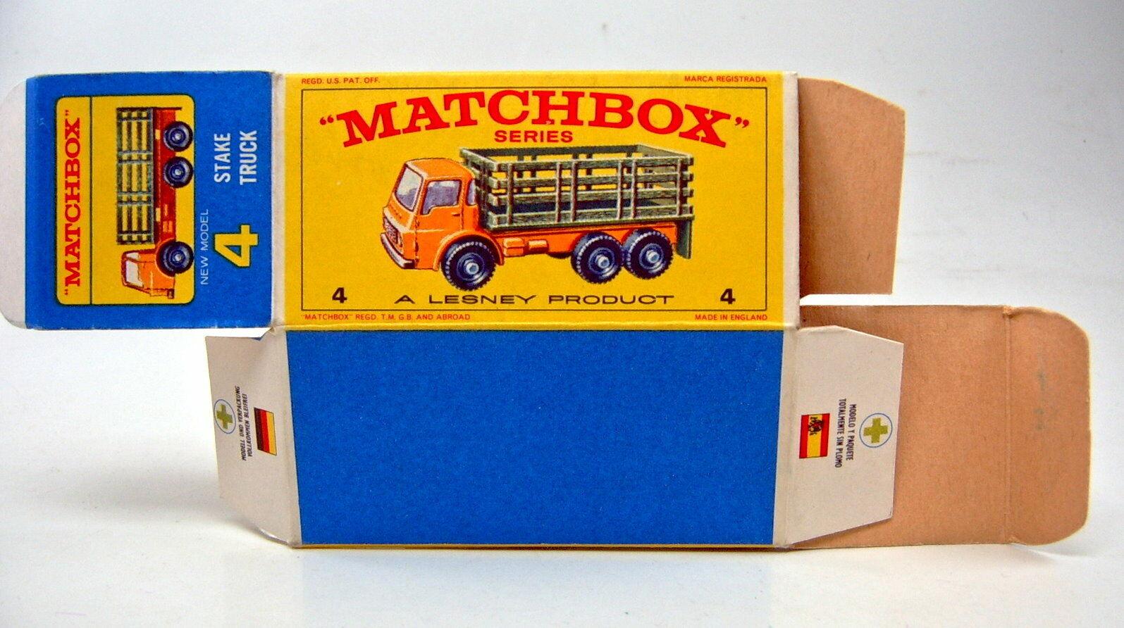 Matchbox RW 04d Stake CAMION VERT enclos tardive tardive tardive version avec  E  BOX e6a55b