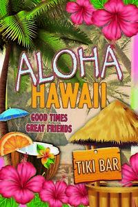 Aloha-Hawai-Tiki-BAR-Panneau-Metallique-Plaque-Voute-en-Etain-20-X-30-cm-CC0975