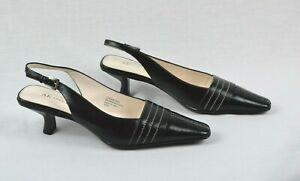 ANNE-KLEIN-Black-Leather-Sling-Back-Kitten-Heels-size-8-5