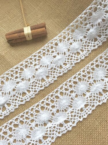 "Laces Galore  Premium White Cotton Nottingham Lace Trim  2.75/""//7 cm Craft Trim"