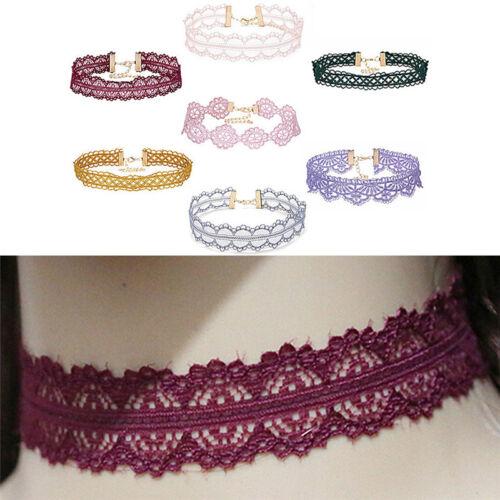 Retro Hollow Lace Choker Chain Flower Necklace Lady Collar Chocker Jewelry VGCA