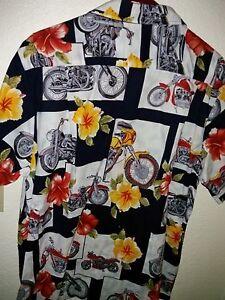 69eacfaa RJC © Men's100% Cotton Hawaiian Camp Shirt Motorcycles Hibiscus ...