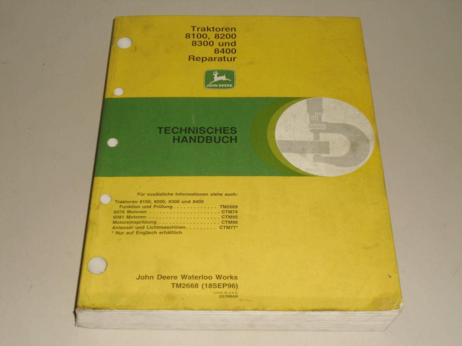 Workshop Manual Repair Manual John Deere Tractor 8100 8200 8300 8400 | eBay