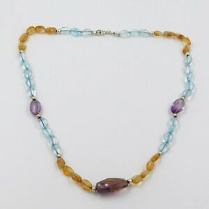 Amethyst-Citrine-Crystal-Quartz-Gemstone-Handmade-Necklace-925-Sterling-Silver