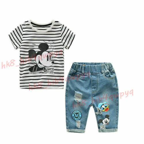 2pcs Toddler Kid Baby Boys Mickey Cotton T Shirt Tops+Jeans Shorts Clothes Set