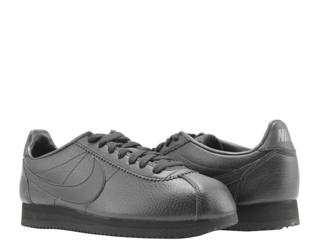 factory price dd6f6 83c8a Nike Classic Cortez Leather Triple Black Mens Running Shoes 749571-002