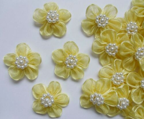 "1-1//8/"" Lt Yellow 2-Layers Organza Ribbon Flowers w// Bead Appliques-24 pcs-R0108I"