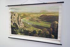 Vecchio Mappa ruolo Elbsandsteingebirge Vintage deco Cartina da parete Scuola